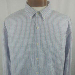 J Crew Shirt 100% Cotton Red White Blue Plaid XL